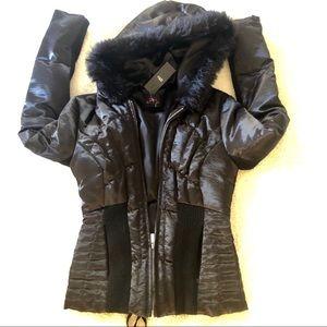 NWT! 2B Bebe black Corp hooded puff coat S